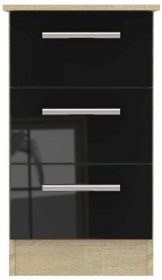Contrast 3 Drawer Bedside Cabinet - High Gloss Black and Bardolino