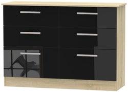 Contrast 6 Drawer Midi Chest - High Gloss Black and Bardolino