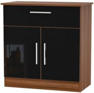 Contrast 2 Door 1 Drawer Narrow Sideboard - High Gloss Black and Noche Walnut