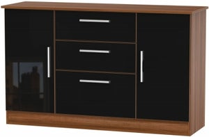 Contrast 2 Door 3 Drawer Sideboard - High Gloss Black and Noche Walnut