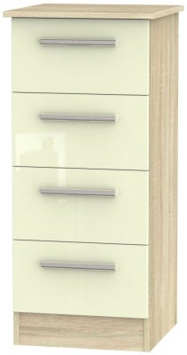 Contrast 4 Drawer Tall Chest - High Gloss Cream and Bardolino