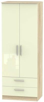 Contrast 2 Door 2 Drawer Wardrobe - High Gloss Cream and Bardolino