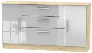 Contrast 2 Door 3 Drawer Wide Sideboard - High Gloss Grey and Bardolino