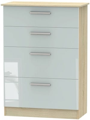 Contrast 4 Drawer Deep Chest - High Gloss Grey and Bardolino