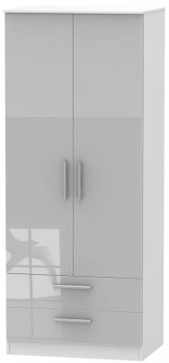 Contrast 2 Door 2 Drawer Wardrobe - High Gloss Grey and White
