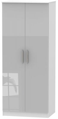 Contrast 2 Door Wardrobe - High Gloss Grey and White