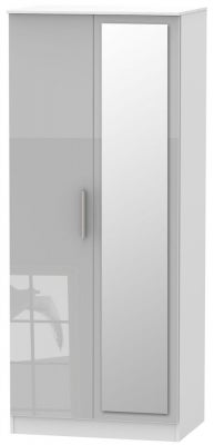 Contrast 2 Door Mirror Wardrobe - High Gloss Grey and White
