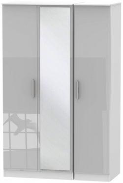 Contrast 3 Door Mirror Wardrobe - High Gloss Grey and White