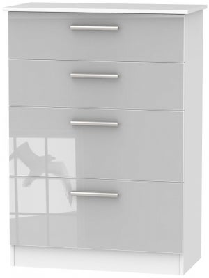 Contrast 4 Drawer Deep Chest - High Gloss Grey and White
