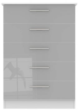 Contrast 5 Drawer Chest - High Gloss Grey and White