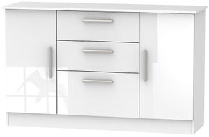Contrast High Gloss White 2 Door 3 Drawer Sideboard