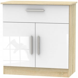 Contrast 2 Door 1 Drawer Narrow Sideboard - High Gloss White and Bardolino