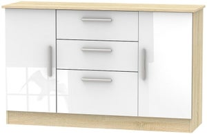 Contrast 2 Door 3 Drawer Sideboard - High Gloss White and Bardolino