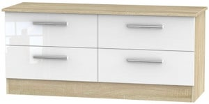 Contrast Bed Box - High Gloss White and Bardolino