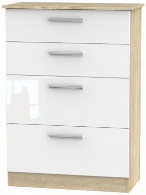 Contrast 4 Drawer Deep Chest - High Gloss White and Bardolino