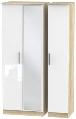 Contrast 3 Door Mirror Wardrobe - High Gloss White and Bardolino