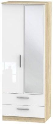 Contrast 2 Door Combi Wardrobe - High Gloss White and Bardolino