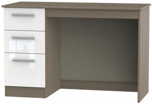 Contrast Desk - High Gloss White and Toronto Walnut