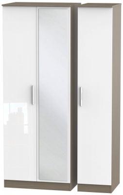 Contrast 3 Door Mirror Wardrobe - High Gloss White and Toronto Walnut