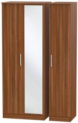Contrast Noche Walnut 3 Door Mirror Wardrobe
