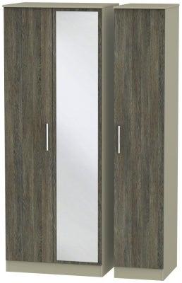 Contrast 3 Door Mirror Wardrobe - Panga and Mushroom