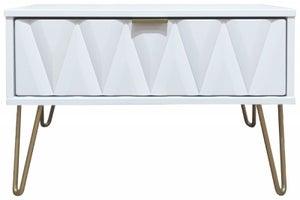 Diamond White 1 Drawer Midi Chest with Hairpin Legs