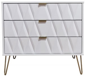 Diamond White 3 Drawer Chest with Hairpin Legs