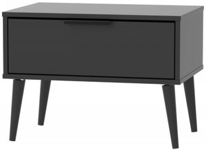 Hong Kong Black 1 Drawer Midi Chest with Wooden Legs