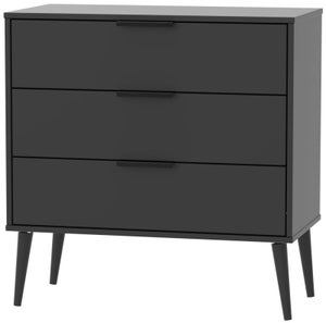 Hong Kong Black 3 Drawer Chest with Wooden Legs