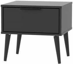Hong Kong Black 1 Drawer Bedside Cabinet with Wooden Legs