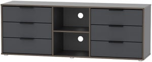 Hong Kong Graphite 6 Drawer TV Unit with Glides Legs
