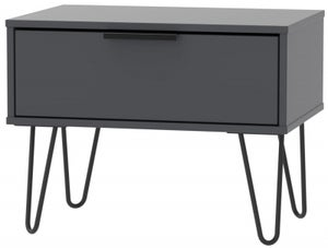 Hong Kong Graphite 1 Drawer Midi Chest with Hairpin Legs