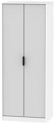 Hong Kong 2 Door Wardrobe - Grey and White