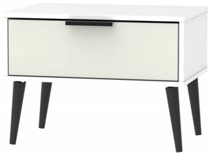 Hong Kong 1 Drawer Midi Chest with Wooden Legs - Kaschmir and White