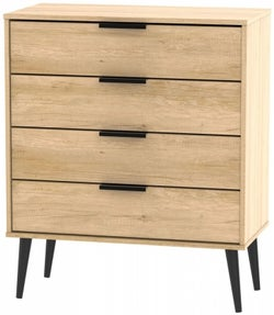 Hong Kong Nebraska Oak 4 Drawer Chest with Wooden Legs