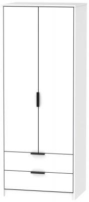 Hong Kong White 2 Door 2 Drawer Wardrobe