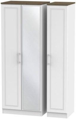 Kent 3 Door Tall Mirror Wardrobe - White Ash and Oak