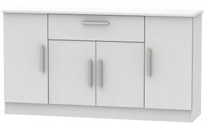 Knightsbridge Grey Matt 4 Door 1 Drawer Wide Sideboard