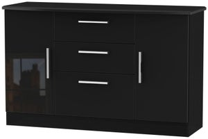 Knightsbridge High Gloss Black 2 Door 3 Drawer Sideboard