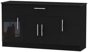 Knightsbridge High Gloss Black 4 Door 1 Drawer Wide Sideboard