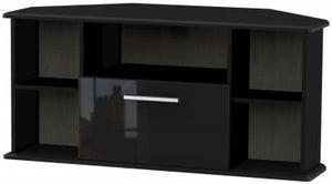 Knightsbridge High Gloss Black 1 Drawer Corner TV Unit