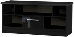 Knightsbridge High Gloss Black 1 Drawer Open TV Unit