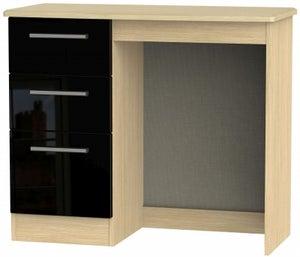 Knightsbridge Single Pedestal Dressing Table - High Gloss Black and Light Oak