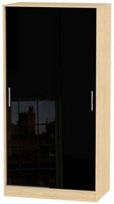 Knightsbridge 2 Door Sliding Wardrobe - High Gloss Black and Light Oak