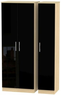 Knightsbridge 3 Door Tall Wardrobe - High Gloss Black and Light Oak