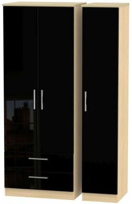 Knightsbridge 3 Door 2 Left Drawer Tall Wardrobe - High Gloss Black and Light Oak
