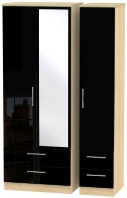 Knightsbridge 3 Door 4 Drawer Tall Combi Wardrobe - High Gloss Black and Light Oak