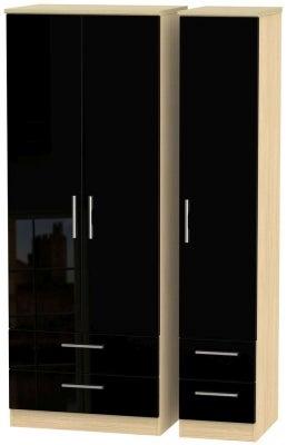 Knightsbridge 3 Door 4 Drawer Tall Wardrobe - High Gloss Black and Light Oak