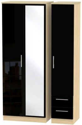 Knightsbridge 3 Door 2 Right Drawer Tall Combi Wardrobe - High Gloss Black and Light Oak