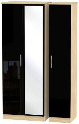 Knightsbridge 3 Door Tall Mirror Wardrobe - High Gloss Black and Light Oak